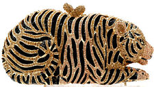 XL Evening luxury crystal clutch purse full rhinestone bag Gold TIGER US seller