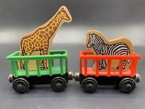 1998 Thomas Train Wooden Circus Zoo Car Set, Wood Animal Zebra GIRAFFE