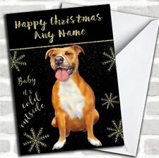 Cold Outside Snow Dog Pitbull Personalized Christmas Card