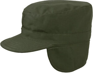 Olive Drab Military Fatigue Patrol Cap with Ear Flaps