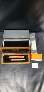 Parker Duofold Special Edition Orange Fountain Pen & Pencil w/ Original Case