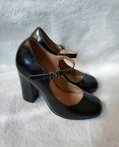 Vintage 1930's Style Black Leather Mary Jane Shoes, Size 3