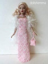 TINY KITTY Doll Clothes BOA, GOWN,  PURSE & JEWELRY Handmade Fashion NO DOLL d4e