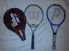 Lot of 2 Tennis Racket Prince Shark 26  Wilson Titanium RAK Attack 25 w/ cover