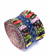 2.5 inch Bandana Jelly Roll 100% cotton fabric quilting strips  17 pieces