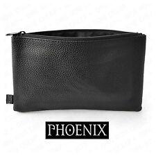 Phoenix Pencil Case Leather Look Faux Black Leather