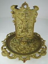 Antique Art Nouveau Bronze Match Book Holder Tray winged cherub exquisite design