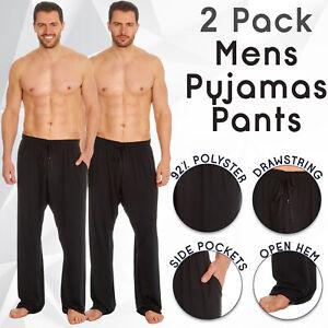 2 Pack Mens Pyjama Bottoms Pajama Pants Lounge PJ Trouser Loungewear Black S-XXL