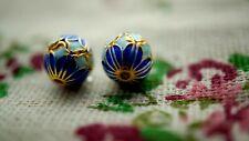 Blue flower enamel bead gold jewellery supplies C989