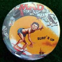 "MAD MAGAZINE ""SURF'S UP"" Promo Pinback Button Pin 1987"