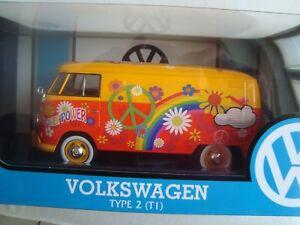 Miniature Volkswagen T1 Type 2 Power Flower 1/24 Motor Max New