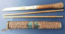 Antique Chinese Trousse set Chop Stick & Knife in Case Qing 1800s