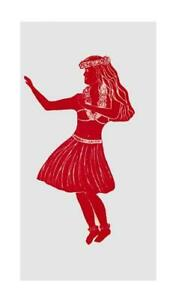 Two Hula Dancer Flour Sack Dish Towels-Red