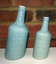 Pair Leaning Vase Blue Bottle Incline Design Shabby Crackle Glaze Ceramic New