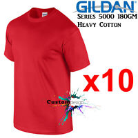 10 Packs Gildan Red T-SHIRT Basic Tee S - 5XL Men Heavy Cotton