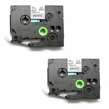 2x  Black on White Label Tape Compatible with Brother TZ 231 TZe 231 12mm 26.2ft