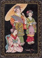 Playing Cards Single Card Old Antique Wide * JAPANESE LADY + GIRLS * Art Picture