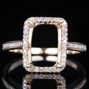 STERLING SILVER SQUARE 7x10MM SEMI MOUNT 1/5CT REAL DIAMOND WEDDING RING SETTING