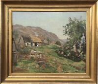 Impressionist Colin Gillespie Mitchell 1870-1938 Scottish Landscape With Figure