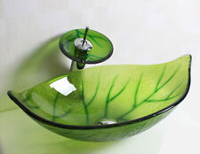 Green Leaf 23x15Inch Glass Vessel Bathroom Bowl Sink Wash Basin with Drain