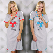 Maternity nursing nightdress nightshirt pregnancy breastfeeding nightie 8 10