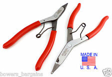 "Wilde Tool 9"" Right Angle & Straight Lock Ring Plier Set Snap Retaining USA MADE"