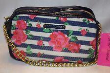 NWT! NEW! BETSEY JOHNSON Blue Stripe Sequin ROSE GARDEN Crossbody Bag
