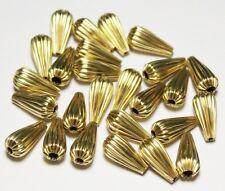 7 x 13.5  Brass Pear Shape Corrugated Hollow Beads  Pkg. 100 p.  , (305E7)