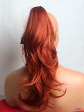 """Capelli Coda di Cavallo Extension Clip In Capelli Flick ROSSO GOLDEN Ginger #130 - 19"""" Cara"""