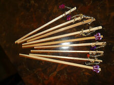 DRINK STIRRERS/set of 4 - UNIQUE, HANDMADE, WOODEN W/VARIOUS TRIMS
