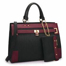 Women Handbags Faux Leather Work Padlock Satchel Tote Bag Purse with Wallet