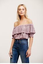 Free People That Girl Off the Shoulder Ruffle Eyelet Crop Top- Size S- NWOT