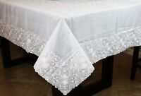 "White 72x90"" Polyester Rectangle Tablecloth Napkins Wedding Party Banquet Events"