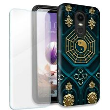 Yin Yang Double Layer Case w/Tempered Glass Protector For LG Stylo 4