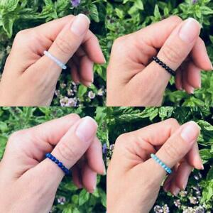 Natural Gemstone Thumb Ring Crystal Beaded Stretch Stacking Chakra Reiki Healing