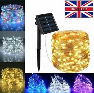 LED Solar Powered String Fairy Lights Outdoor Garden Wedding Party Lamp Xmas UK