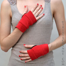 Short Red Cotton Fingerless Gloves Winter Warmer Arm Covers Smoking Soft 1011