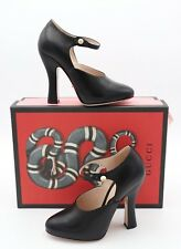 8f450c1885c6 Gucci Mary Jane Black Leather Platform Pearl Button Pump 36