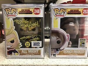 FUNKO POP! Signed GITD All Might with JSA cert, And Masked Ochaco Con Exclusive!