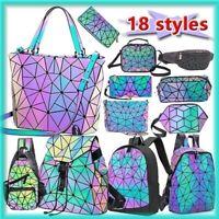 丶丶 Geometric Lattice Luminous Shoulder Bag Holographic Reflective Cross-Body Bag