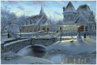 500 Pcs Kid Adult Puzzle Xmas Small Town Snowy Scene Jigsaw Educational Toy Gift