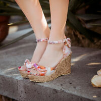 Women Peep Toe Floral Boho Wedge Heels Ankle Strap High Platform Sandals Shoes