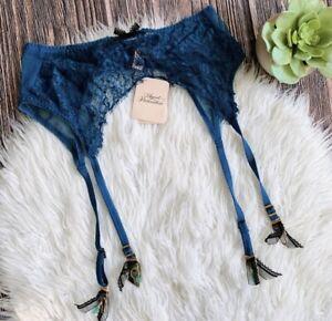 NWT Agent Provocateur Cassia Blue Suspender Garter Belt
