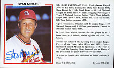 Stan Musial signed  3 1/2 x 6  Stat Card -  St. Louis Cardinals H.O.F.  Ex. Con.