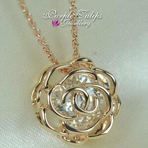 Rose Flower Made With Swarovski Element Crystal Necklace,18CT Rose Gold Plated