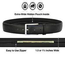 Diversion Safe Secret Stash Leather Black Money Belt Hidden Pocket Travel Belt