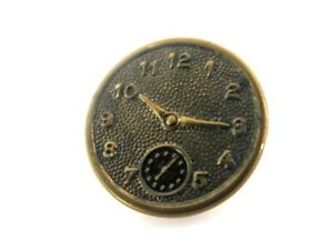 Vintage Two Piece Metal Metal Clock Face Stop Watch Sewing Button Novelty
