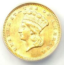 1873 Indian Gold Dollar (G$1 Coin) - Certified ANACS AU58 - Rare Coin!