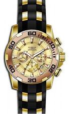Invicta Men's Pro Diver Chrono Gold Plated S. Steel Black Silicone Watch 22342