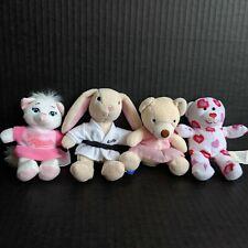 Lot of 4 McDonald's Build a Bear Mini Plush Stuffed Animals Bear Kitty Bunny